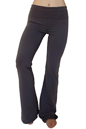 Popular Basics Women's Cotton Yoga Pants With Fold Down Waist-Charcoal/charcoal Small (Basic Stretch Cotton)