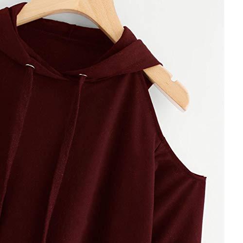 FIRSS Frauen Kängurutasche T Shirt   Tunnelzug Shirt   Schulterfrei Hemd   Mit Kapuze Tops   Bequem Oberteile   Normallack Pullover   Casual Lose