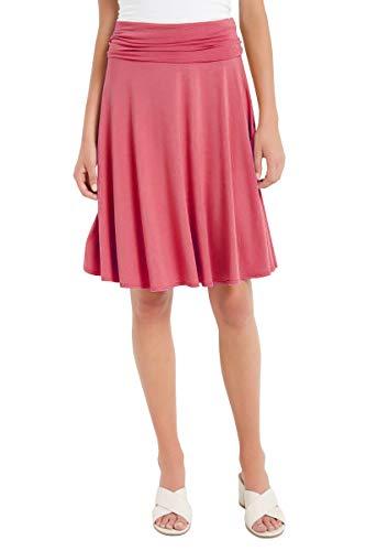 12 Ami Solid Basic Fold-Over Stretch Midi Short Skirt Coral Medium