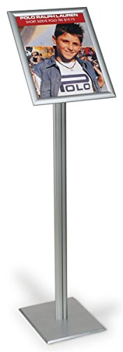 Displays2go Floor-Standing Sign Frame for 11 x 14 Prints, Pedestal Poster Stand with Hinged Edge Front - Loading Frame - Silver/Aluminum (UCMB31D511) - Freestanding Pedestal Sign