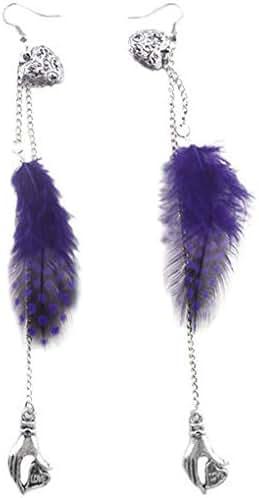 1set vogue purple light Feather chain palm heart for true love dangle earrings Good Accessories Design Womens Cheap Bright Designer Pendant Comfortable Jewelry