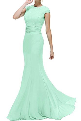 Meerjungfrau Ivydressing Lang Grün Abendkleider Ballkleider Damen Brautmutterkleid Promkleid Rundkragen wwq4p5C