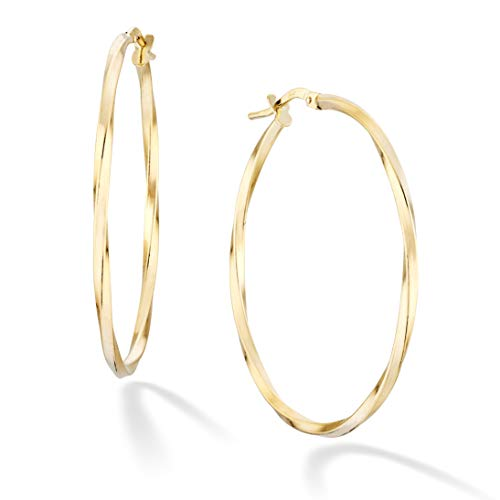 Miabella 18K Gold Over Sterling Silver Italian 2mm Round Twisted Hoop Earrings for Women Men 15mm, 20mm, 30mm, 40mm, 50mm, 60mm (40)
