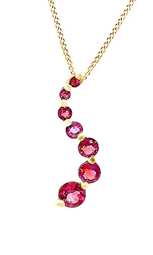 Dark Pink Ruby Journey Pendant Necklace In 14k Yellow Gold Over Sterling Silver (1.5 -