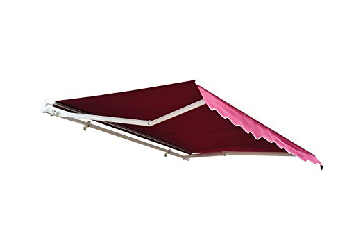Outsunny 8' x 7' Patio Manual Retractable Sun Shade Awning - Red