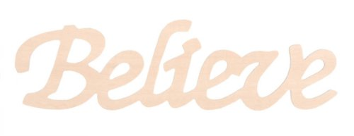Darice 9110-36 Wood Script Word, Believe (Decor Words Wooden)