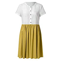 Tifenny Student Women Casual Color Block Loose Button Knee Length Short Sleeve O Neck Dresses Summer Loose Linen Dress Yellow