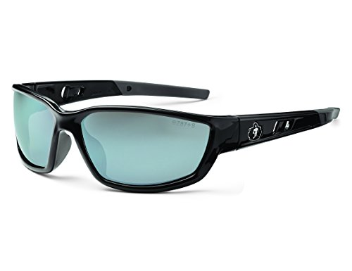 - Ergodyne Skullerz Kvasir Safety Sunglasses - Black Frame, Silver Mirror Lens