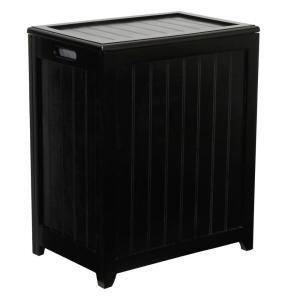 Dark Mahogany Wainscot Style Rectangular Laundry Hamper w/ Bag by TDM