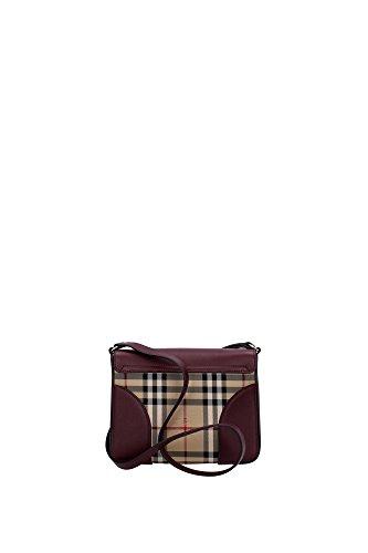 Borse a Tracolla Burberry Donna Tessuto Bordeaux e Check Classico Burberry 3997089 Rosso 6.5x18x21 cm