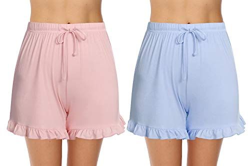 Hawiton 1 & 2 PCS Women Striped Cotton Sleeping Pajama Bottoms Exercise Fitness Shorts (Y-Pink+Blue, Large)