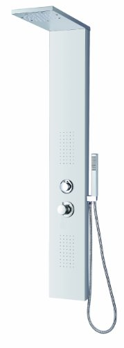 "Blue Ocean 56"" Stainless Steel SPS8729 Thermostatic and Fingerprint Resistance Shower Panel with Rainfall Shower Head, Body Nozzles, and Handheld Shower Head"