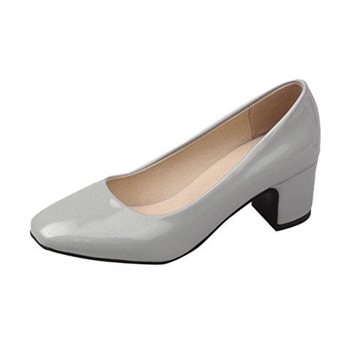 Carolbar Women's Solid Color Concise Square Toe Mid Heel Court Shoes Grey kPBINCt