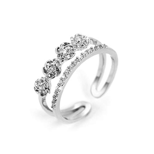 Solitaire Deck Double - ONE A DAY Luxurious 18K White Gold Plated Double-Deck Solitaire Band Rings Cubic Zirconia Flower Open Rings Adjustable Size