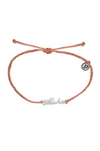 Pura Vida Silver Aloha Script Bracelet w/Plated Charm - Adjustable Band, 100% Waterproof - Salmon ()