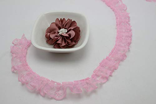 35 Meters Ruffle Unilateral Lace Trim Ribbon 23mm Sewing Wedding Color Choice (Color - Pink)