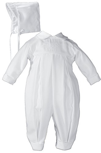 Gabardine Coverall (Pleated Boys Christening Baptism Coverall with Embroidered Shamrock Cluster and Hat - Size 6 Month)