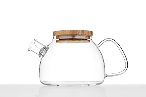 Guangzhou Glass Teapot with Bamboo Lid Strainer Teapots Modern Chinese Teaware - Strainer Oblong