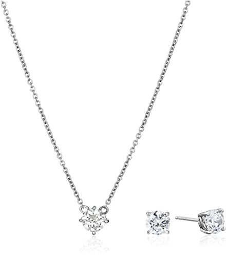 Platinum-Plated-Sterling-Silver-Swarovski-Zirconia-Pendant-Necklace-and-Stud-Earrings-Jewelry-Set