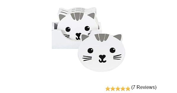 Posavasos Madera Originales de Gato Blanco, Juego de 6 para Tazas y Vasos, Hogar Casa Decoración de Cocina, Regalo para los Amantes de los Gatos: Amazon.es: Oficina y papelería