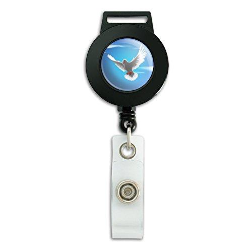 Dove Holder (Dove Bird Flying In the Sky Lanyard Retractable Reel Badge ID Card Holder)