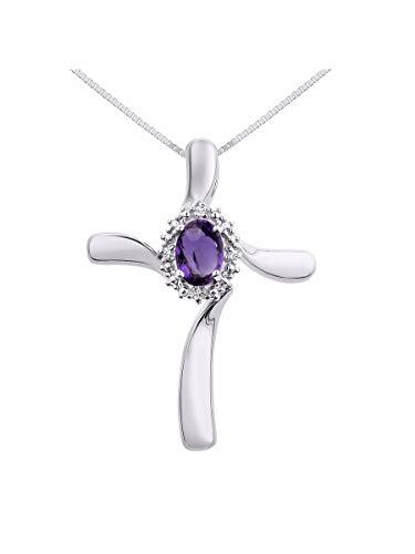 - Diamond & Amethyst Cross Pendant Necklace Set In Sterling Silver .925 with 18