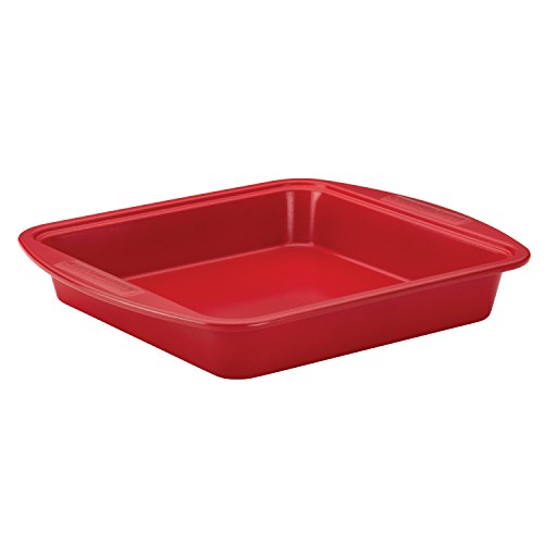 SilverStone Hybrid Ceramic Nonstick Bakeware Steel Square Cake Pan, 9-Inch x 9-Inch, Chili Red
