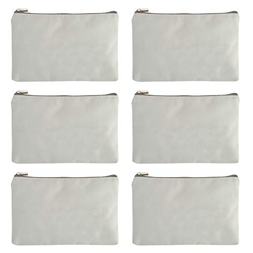 (Aspire 12-Pack White Canvas Zipper Bags for Painting DIY Fabric Bag 6 3/4