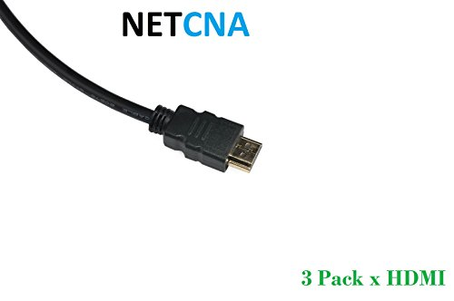 NETCNA - 3 pack X 6ft HDMI Cable Premium 1.4 Gold 1080P Compatible With PS3...