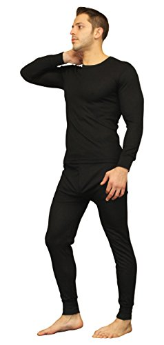 Moet Fashion Men's Ultra Soft Thermal Underwear Long Johns Set with Fleece Lined (2X-Large, Black)