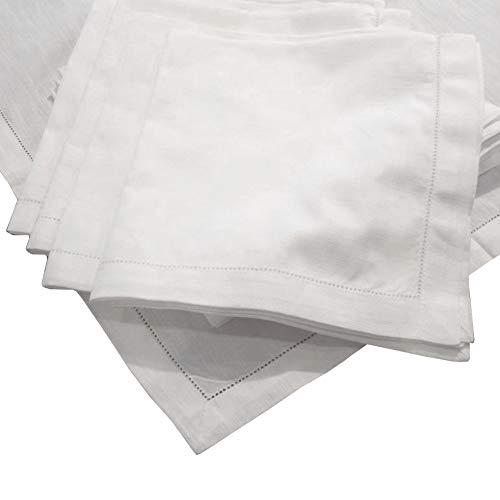 Hemstitch Dinner Napkins Set of 12 - White - One Dozen - 100% Egyptian Cotton - Elegant Cloth - Super Value Bulk 12 Pack ()