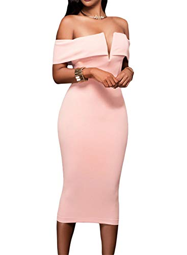 - AlvaQ Women's Sexy V Neck Off The Shoulder Evening Bodycon Club Midi Dress, Peach, Small