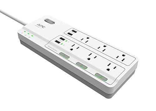 APC Smart Plug Surge Protector Power Strip, 3 Alexa Smart Plugs, 6 Outlets Total with 2160 Joules of Surge Protection, WiFi Smart Plug Outlet Works with Alexa Echo, No Hub Required (PH6U4X32W)