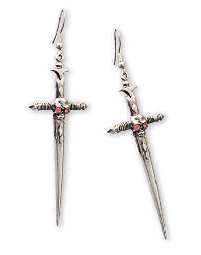 Gothic Skull on Sword Medieval Renaissance Pewter (Pewter Fish Earrings)