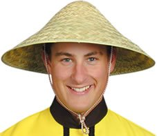Hat Straw Chinese Coolie For Fancy Dress Party Accessory