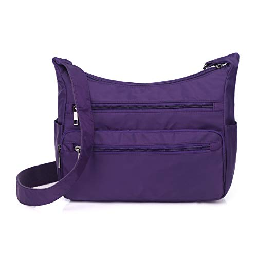 Lightweight Shoulder Bags for Women, Messenger Purses and Handbags Multi Pocket Nylon Waterproof Crossbody Bags Travel (Large Size, Purple)