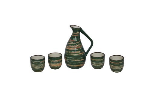 Glazed Ceramic 5 Pcs Japanese Sake Set In Wooden Gift Box by Asian Home