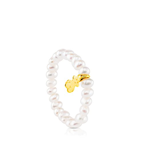 TOUS Pearls Elastic Ring with Chinese Freshwater Cultured Pearls and 18k Yellow Gold Bear (Elastic Pearl Ring)