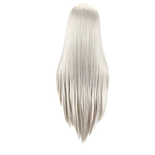 Ydida Silver Long Curly Woman Wig Silver Wig Long Curly Synthetic Party Wigs Middle Part Wavy Wigs Heat Resistant Fiber Novel Gradient Simulation Hair Wigs Free Wig Cap for Women