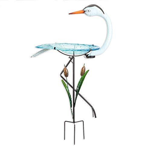 (Bits and Pieces - Solar Powered Crane Birdbath - Outdoor Metal Bird Bath Statue - Garden or Yard Décor Sculpture)