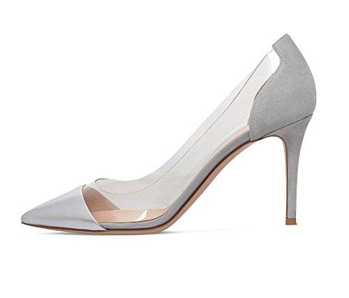 Taille Talon Gris Aiguille Soirée Escarpins Chaussure Edefs Femme Enfiler Stiletto À Transparent Sandales aqZPtUw