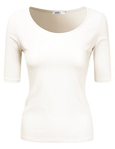 Doublju Sold & Striped Round Neck T-Shirt Top for Women with Plus Size Ivory Small (White Round Off Top)