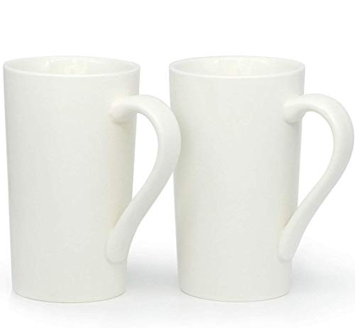 20 Ounce Large Coffee Mugs, Smilatte M007 Plain Tall Ceramic Cup with Handle for Dad Men, Set of 2, White