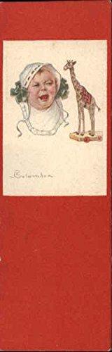 Bookmark Postcard - Baby & Toy Giraffe Artist Signed Original Vintage Postcard