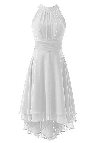 Kevins Bridal Women's High Low Short Bridesmaid Dresses Chiffon Halter Prom Dress White Size 14 (White Chiffon Short Dress)