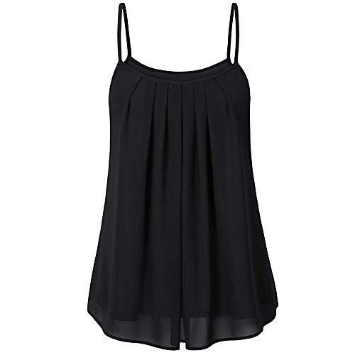 iDWZA Summer Women Ladies Chiffon Loose Solid Ruched Sleeveless Tank Tops Vest Blouse (Black, M) -