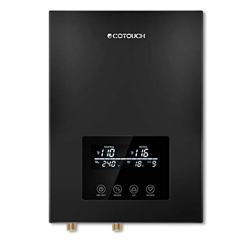 Tankless Water Heater Electric ECOTOUCH 9KW 240V On Demand Water Heater Self-Modulating Instant Hot Water Heater ECO90 Black