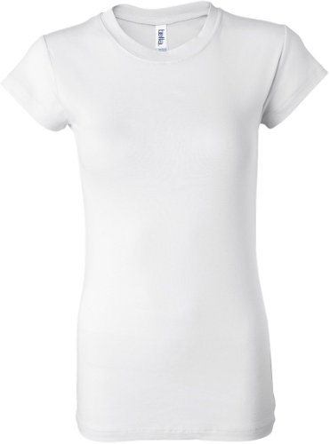 bella Ladies Kimberley Sheer Rib Short Sleeve Longer Length T-Shirt, White, 2XL