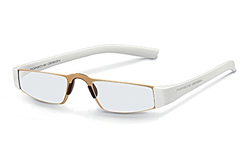Porsche 8801 Single Vision Half Frame Designer Reading Glasses, Gold/White, +1.00