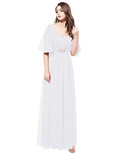 Dresstells®Vestido De Fiesta Para Boda Madrina Mujer Largo Escote Corazón De Gasa Blanco